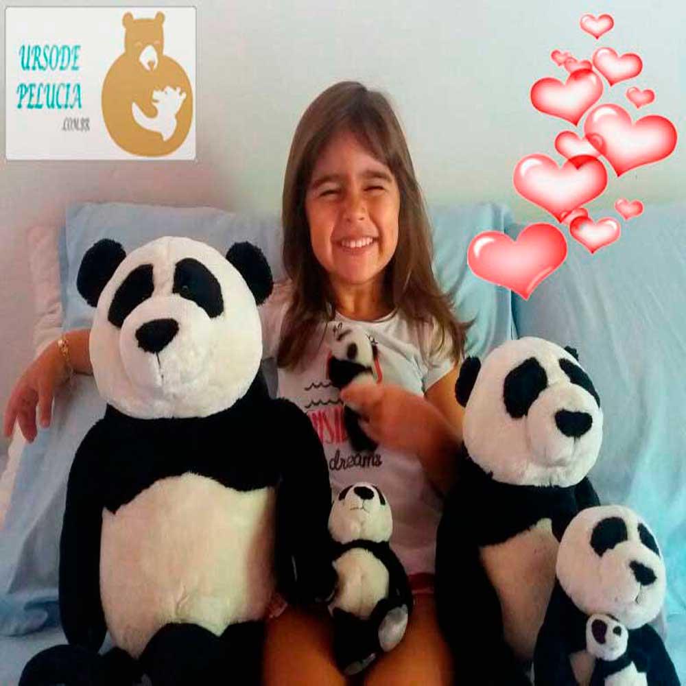 Família 4 Ursos de Pelúcia Panda Nici Pai 25cm + Filho 15cm + Mamãe 25cm com Filhote 8cm Ursinhos para decoração presente namorados dia das mães festa eventos artesanato enfeite