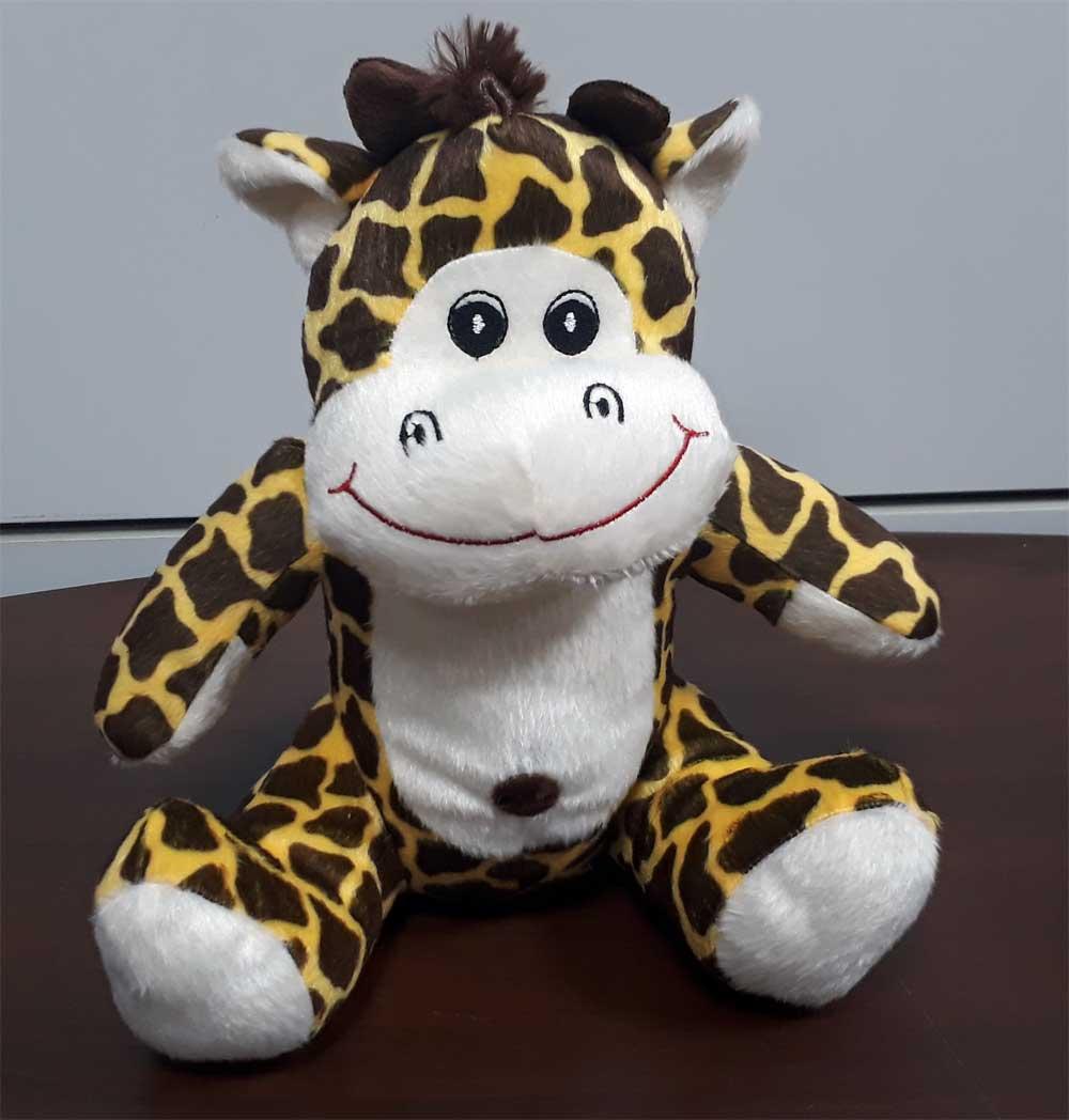 Girafa de Pelúcia Safari Selva Animal Macio 25cm de altura Nicho para Quarto Presente Criança Bebê Aniversário Neném Naninha Nana