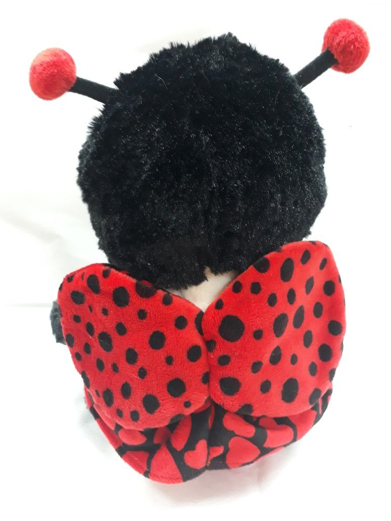 Joaninha de Pelúcia Macia Vermelha com Preto de 30cm de altura Presente Criança Bebê Neném Aniversário Decoração Festa Naninha