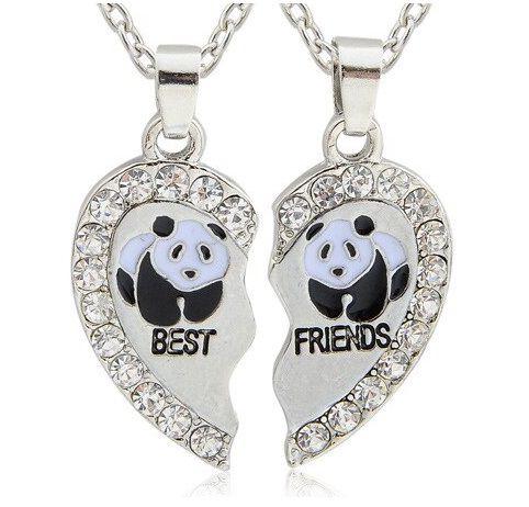 Jóia Urso Panda Dividido de Strass Brilhante corrente Pingente com 3cm um verdadeiro Charme para todas as acasiões, gargantilha de pandinha linda acessórios da moda colar para dividir com seu amor