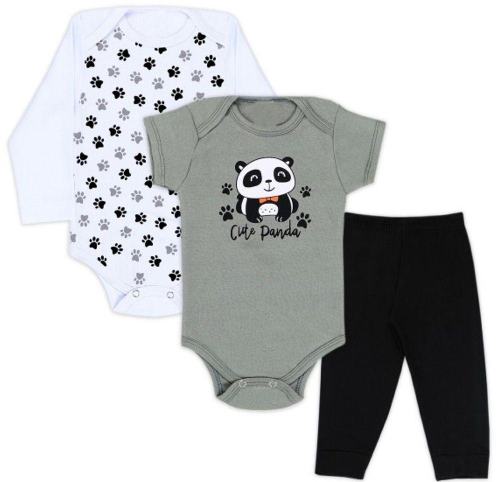 Kit Body Bebê 3 peças Panda Branco e Cinza Infantil Roupa Urso Panda Soft Algodão Super Macio Suedine -  Mimos para Neném Menino Menina