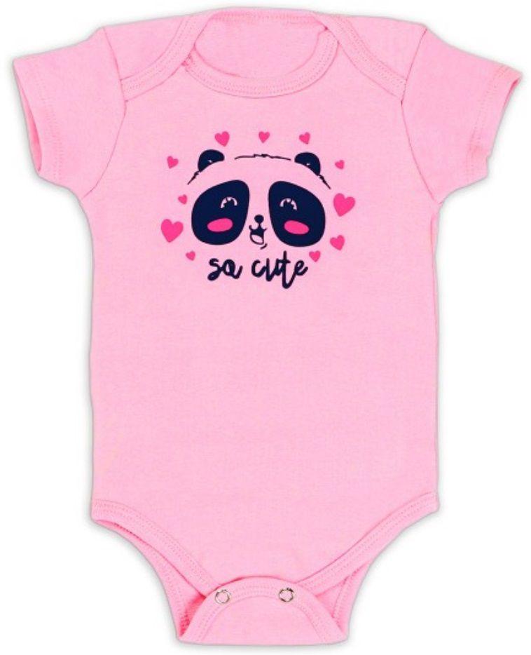 Kit Body Bebê 3 peças Panda Rosa e Branco Infantil Roupa Urso Panda Soft Algodão Super Macio Suedine -  Mimos para Neném Menina