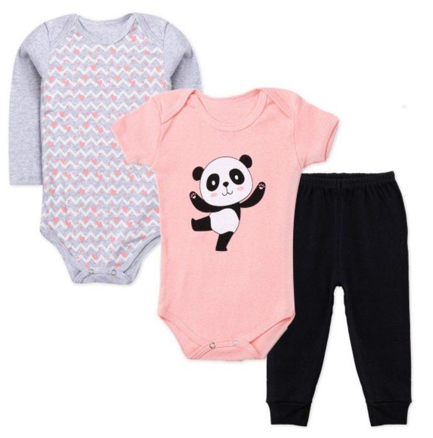 Kit Body Bebê 3 peças Panda Rosa e Cinza Infantil Ribana Roupa Urso Panda Soft Algodão Super Macio Suedine -  Mimos para Neném Menina