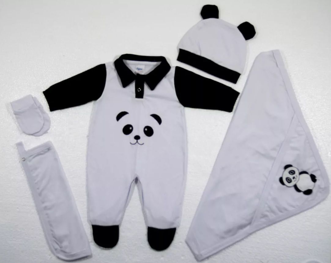 Kit Estilo Ursinho Panda para Saída da Maternidade para Bebês Neném com 6 peças Ótimo para presentear a mamãe e o recém-nascido