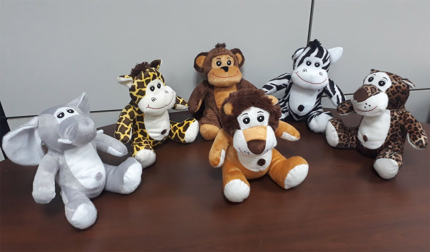 Kit Safari Selva 6 Animais de Pelúcia Macio 25cm de altura Nicho para Quarto Presente Criança Bebê Aniversário Neném Naninha Nana - Modelo 2