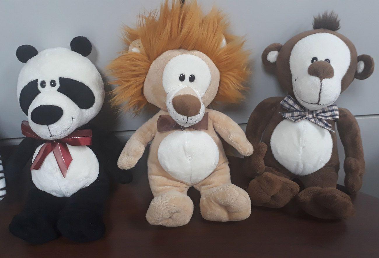 Kit Safari Selva 6 Animais de Pelúcia Macio 32cm de altura Nicho para Quarto Presente Criança Bebê Aniversário Neném Naninha Nana - Modelo 1