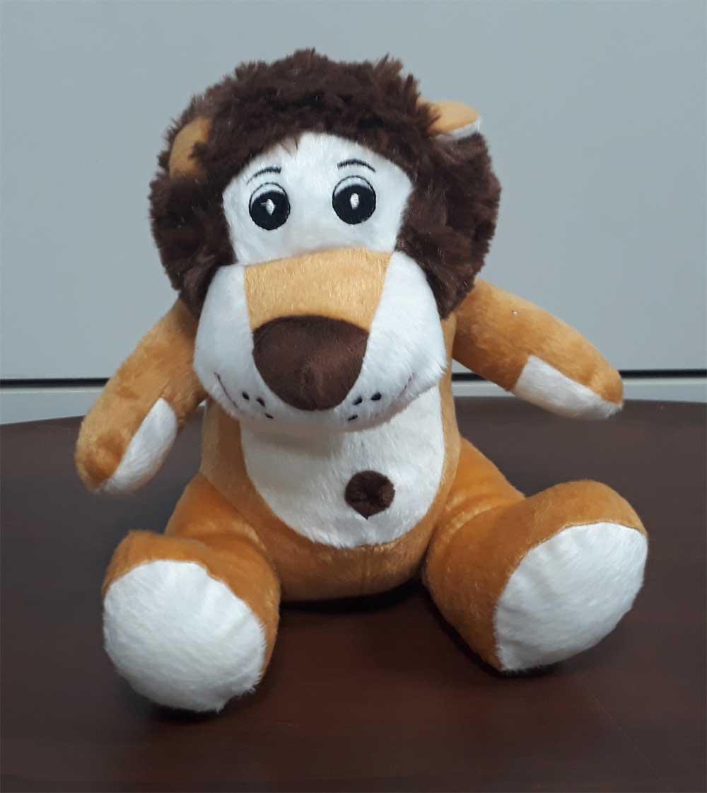 Leão de Pelúcia Safari Selva Animal Macio 25cm de altura Nicho para Quarto Presente Criança Bebê Aniversário Neném Naninha Nana