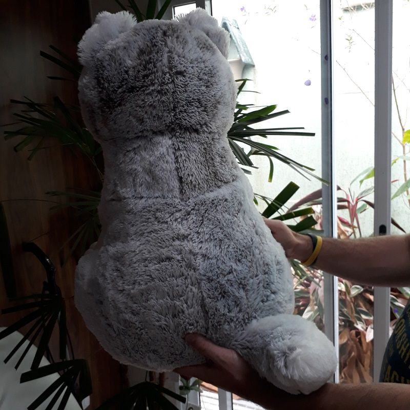 Lobo Cachorro Husky de Pelúcia Gigante Animal Macio 60cm de altura Grande Decoração Festas Eventos Presente Namorados Aniversários Crianças