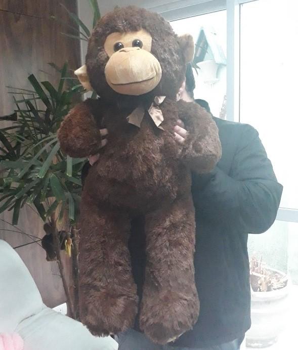 Macaco de Pelúcia Grande Selva Animal Macio 80cm de altura