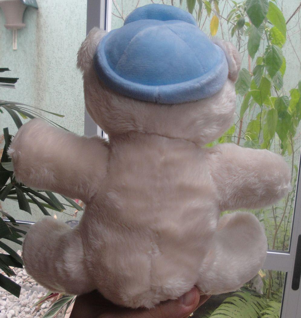 Mini Urso de Pelúcia 20cm com Gorro Azul Estiloso e Lacinho Ursinho Pequeno para decoração presente aniversário namorado artesanato enfeite quarto nicho decorações festas intantil bebê n