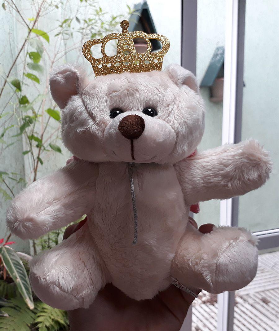 Mini Urso de Pelúcia 20cm Principe ou Princesa Pequeno para decoração presente aniversário namorados artesanato enfeite quarto nicho decorações festas intantil bebê neném