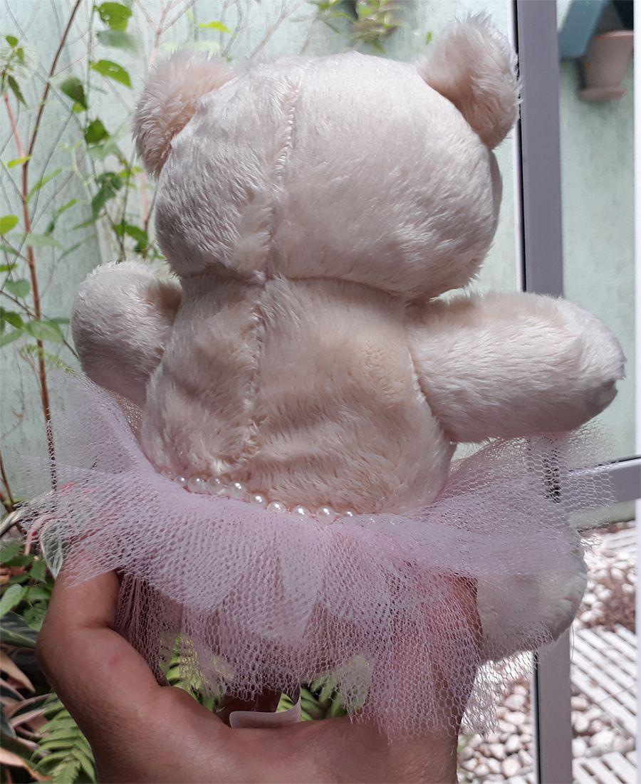 Mini Urso de Pelúcia Bailarina 20cm - Ursinho Pequeno para decoração presente aniversário namorada artesanato enfeite quarto nicho decorações festas intantil bebê neném crianças