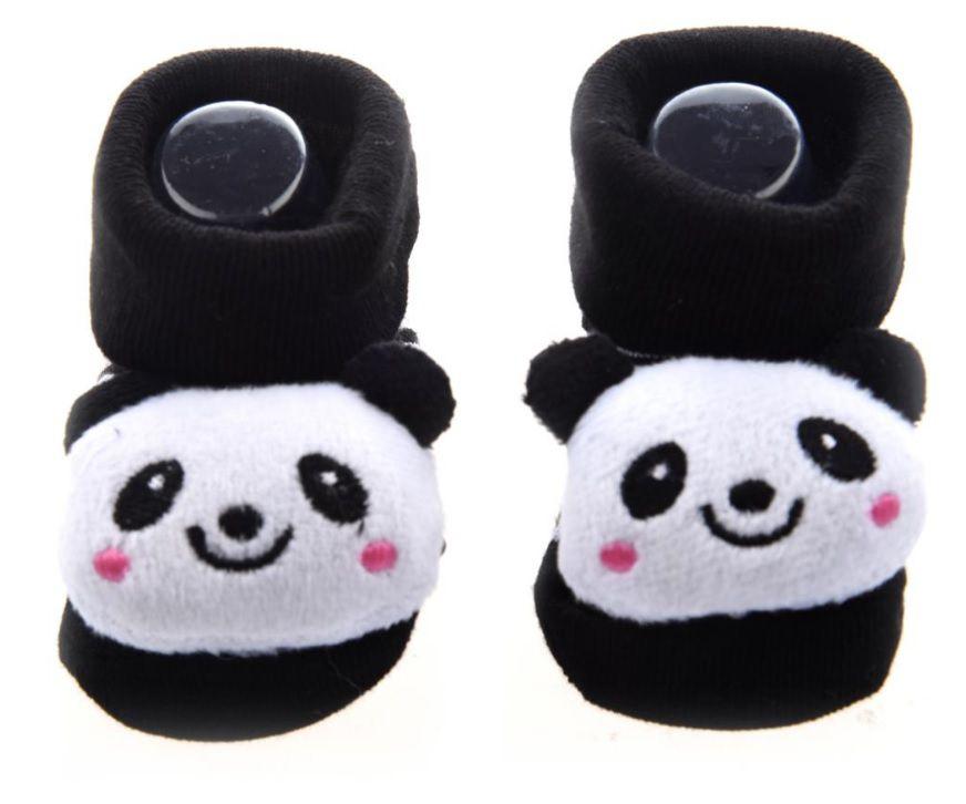 Par de Sapatinho para Bebê Neném Pantufa Meia Quente Anti-derrapante Urso Panda 0 a 12 meses
