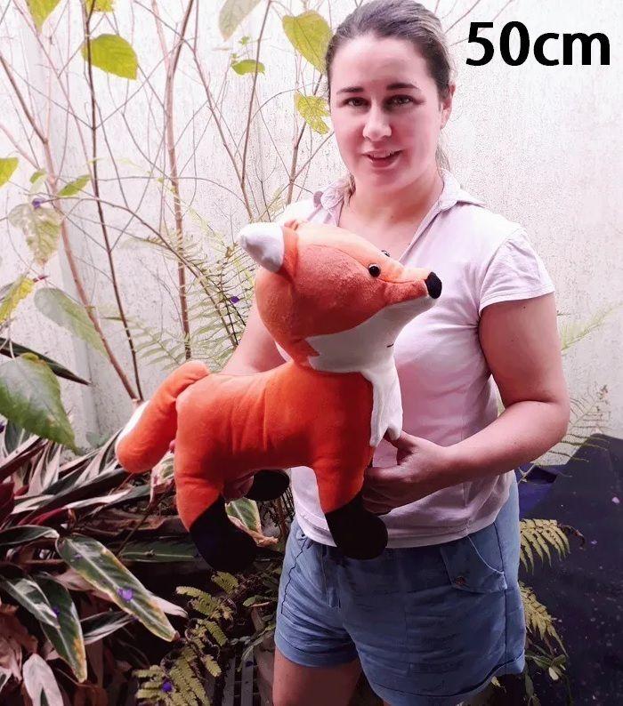Raposa de Pelúcia Safari Selva Animal Macio 50cm de altura Decoração Festas Presente Namorada Aniversário Crianças Bebê Neném