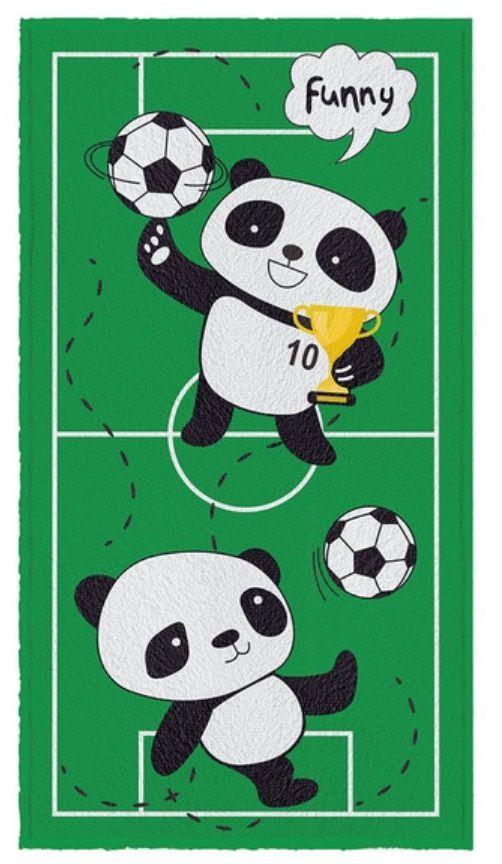 Toalha De Banho Felpuda Infantil Urso Panda Futebol Bola 60cm x 110cm - Personagens Nova Coleção