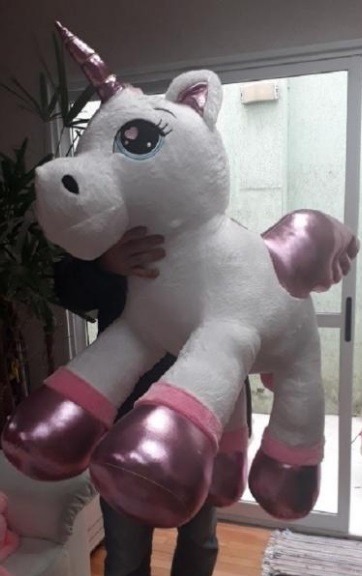 Unicórnio Branco de Pelúcia Gigante 115cm Presente Crianças, Namorada, Neném Bebê Fofinho