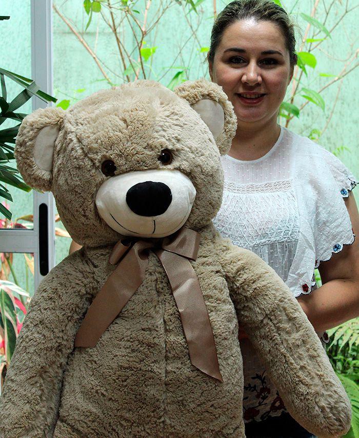 Urso de Pelúcia Areia Grande Macio de 1 metro ou 100cm Presente para Namorada Dia dos Namorados Aniversário