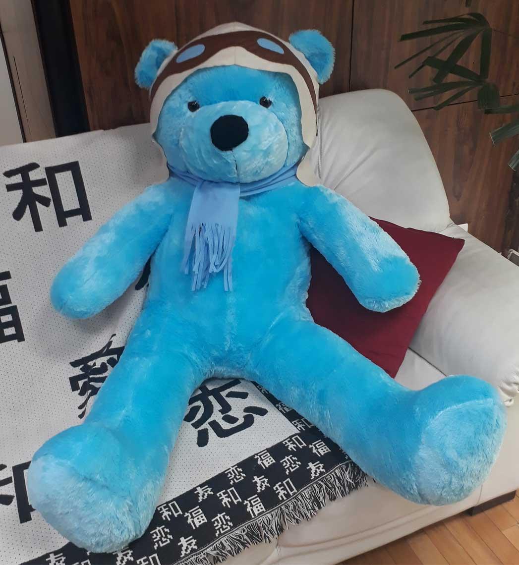 Urso de Pelúcia Aviador Azul Gigante Grande 1,30 metros ou 130cm de altura - Tema para Festas Aniversários Decoração Eventos Decorações Infantil Chá de Bebês