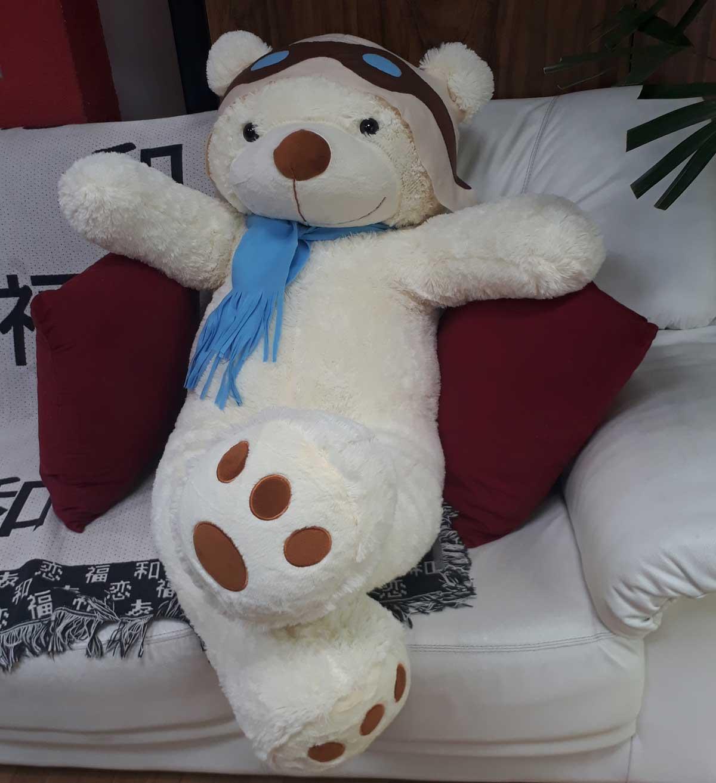 Urso de Pelúcia Aviador Creme Polar Gigante Grande 1,40 metros ou 140cm de altura - Tema para Festas Aniversários Decoração Eventos Decorações Infantil Chá de Bebês