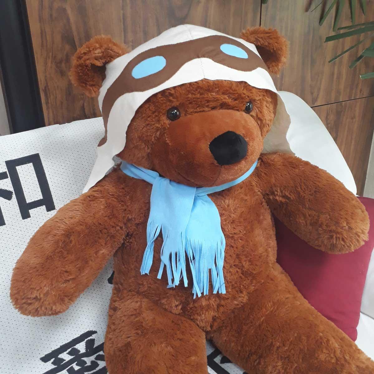 Urso de Pelúcia Aviador Marrom Gigante Grande 1,30 metros ou 130cm de altura - Tema para Festas Aniversários Decoração Eventos Decorações Infantil Chá de Bebês