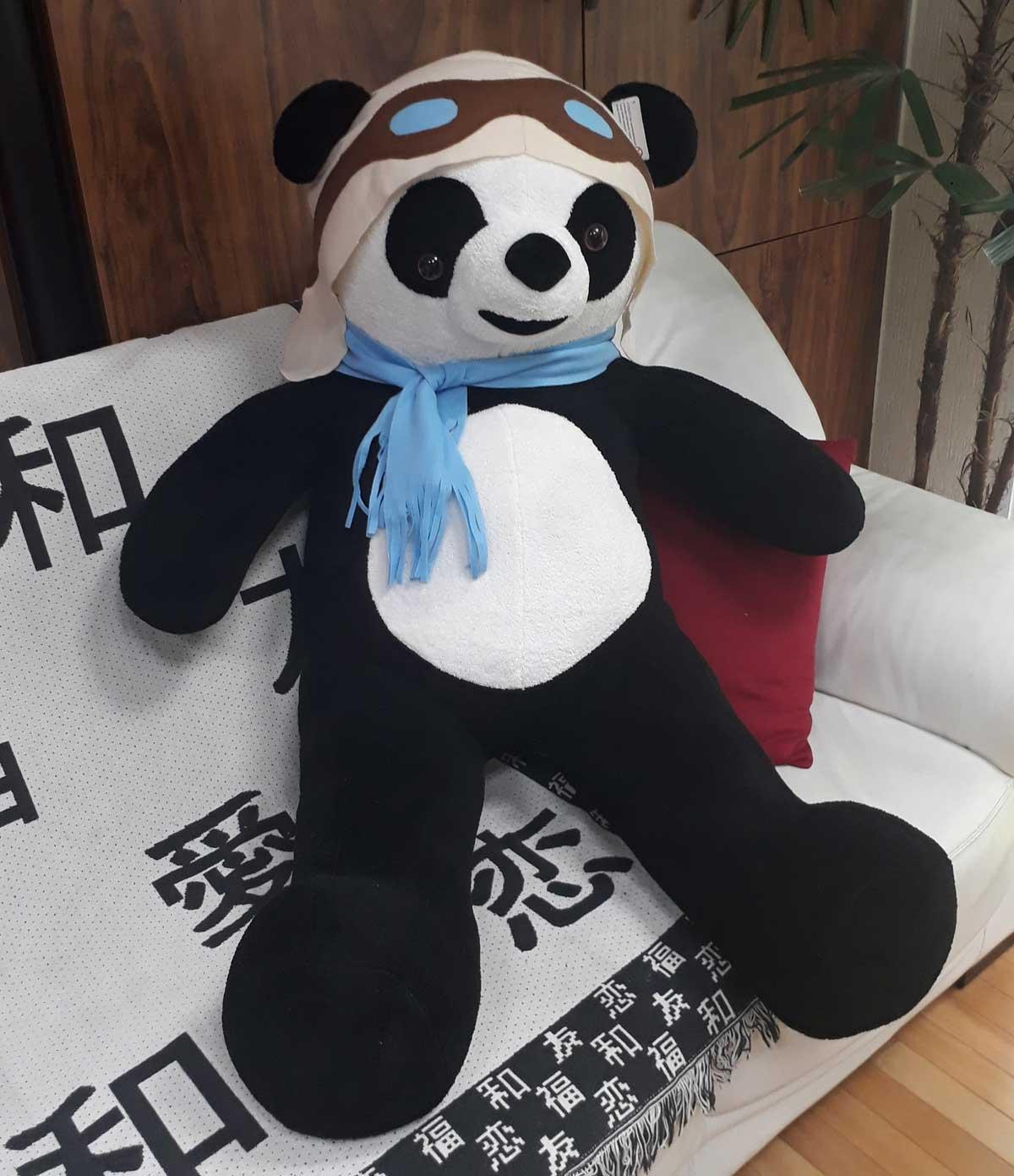 Urso de Pelúcia Aviador Panda Gigante Grande 1,20 metros ou 120cm de altura - Tema para Festas Aniversários Decoração Eventos Decorações Infantil Chá de Bebês