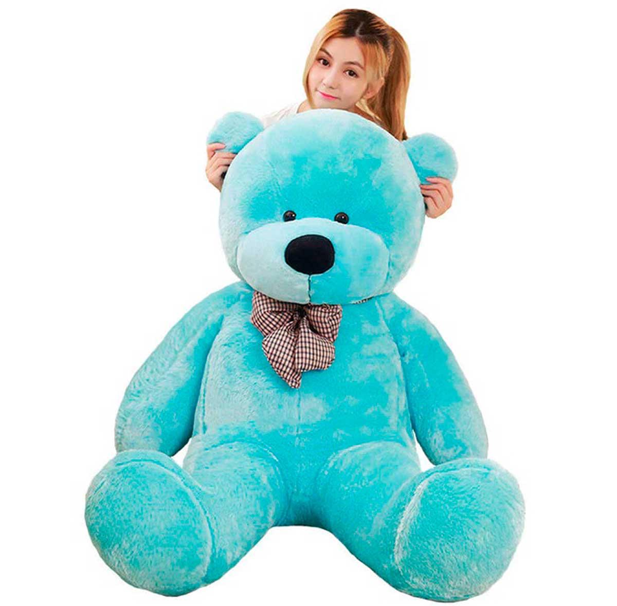 Urso de Pelúcia Azul Gigante Grande 1,30 metros ou 130cm de altura - Ideal para Presentear quem você ama! Festas Decoração Aniversários Formandos Chá de Fralda Quarto Criança Bebê Menino