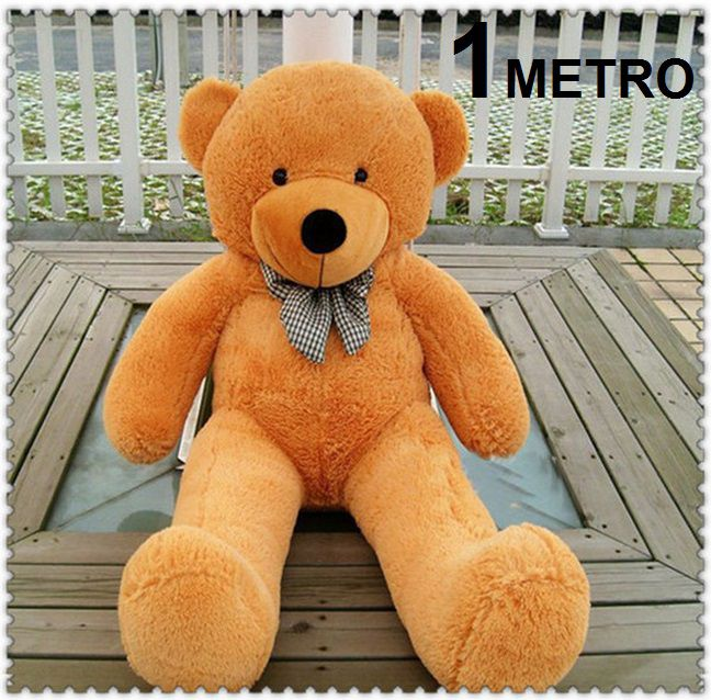 Urso de Pelúcia Caramelo Bege Caqui Gigante Grande 1,40 metros ou 140cm de altura + Coração Romântico