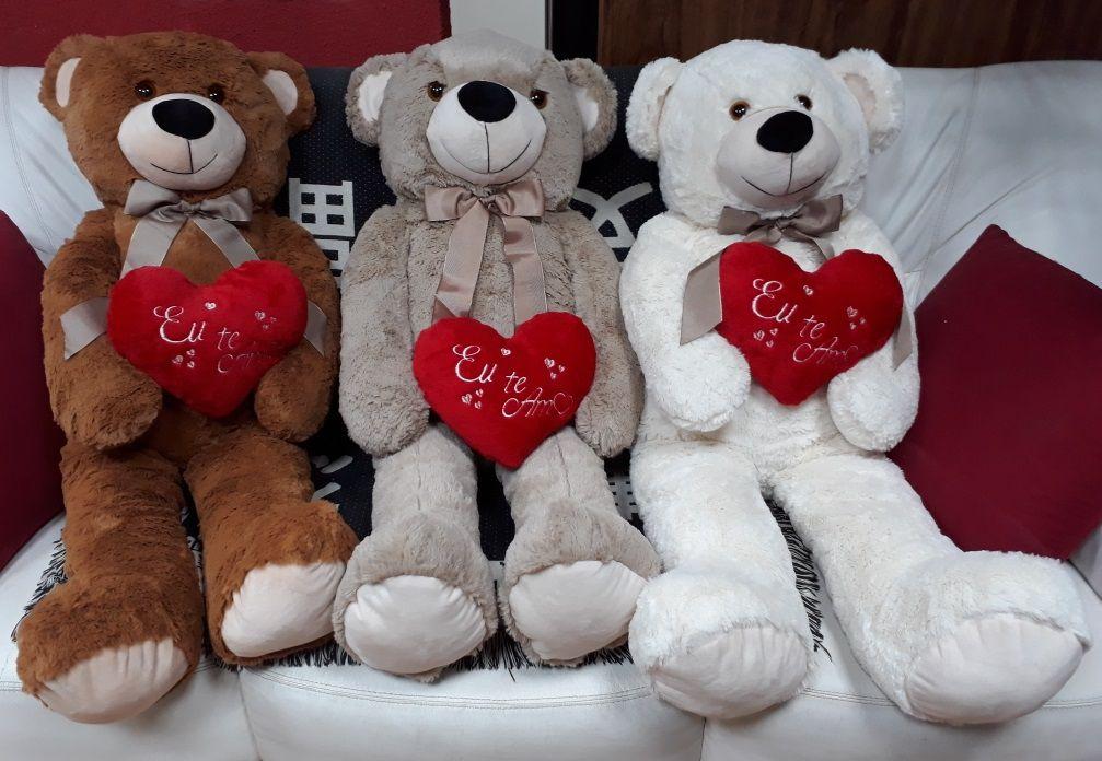 Urso de Pelúcia Creme Grande Macio de 1 metro ou 100cm Presente para Namorada Dia dos Namorados Aniversário com Coração Romântico