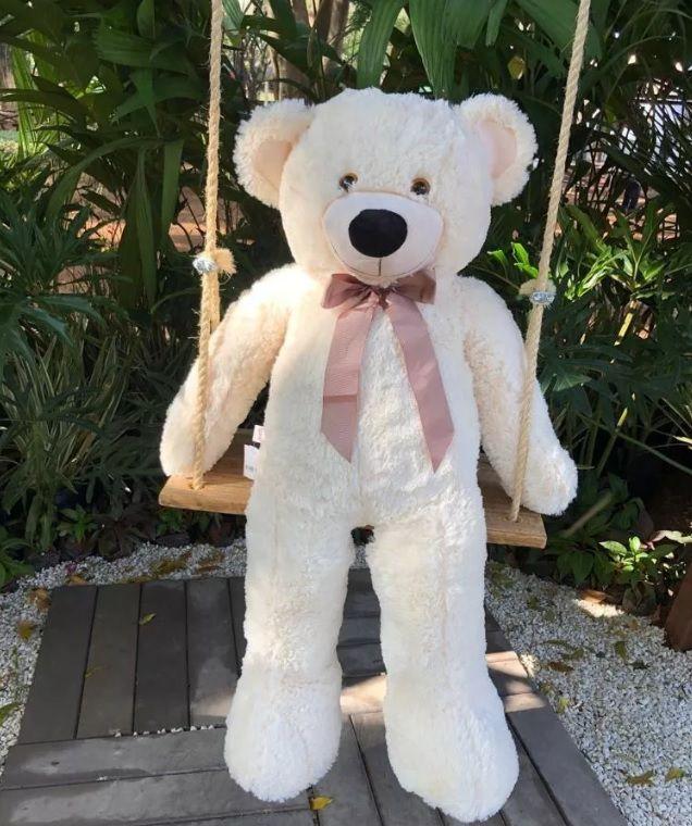 Urso de Pelúcia Creme Grande Macio de 1 metro ou 100cm Presente para Namorada Dia dos Namorados Aniversário