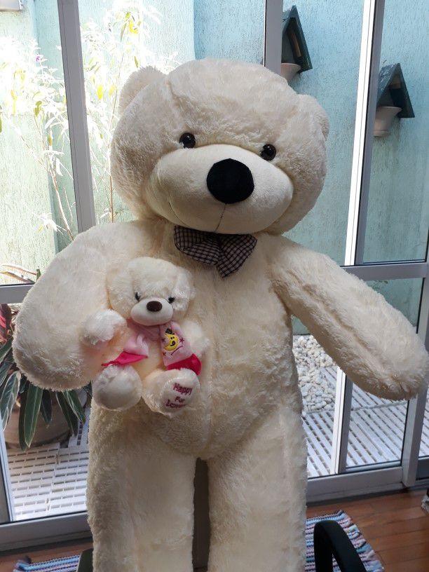 Urso de Pelúcia Creme Polar Gigante Grande 1,50 metros ou 150cm de altura + Filhote de 30cm com cachecol