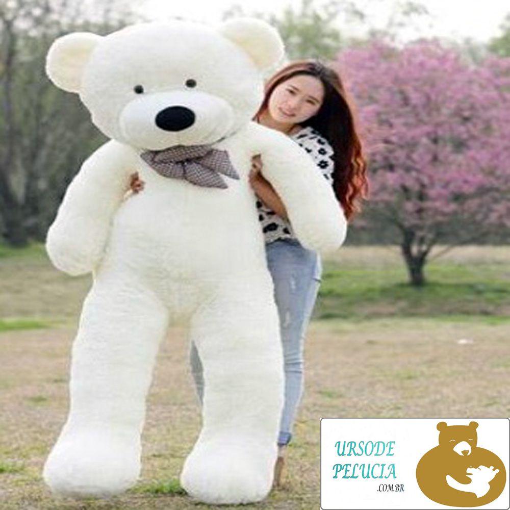 Urso de Pelúcia Creme Polar Gigante Grande 1,70 metros ou 10cm de altura com Coração Romântico