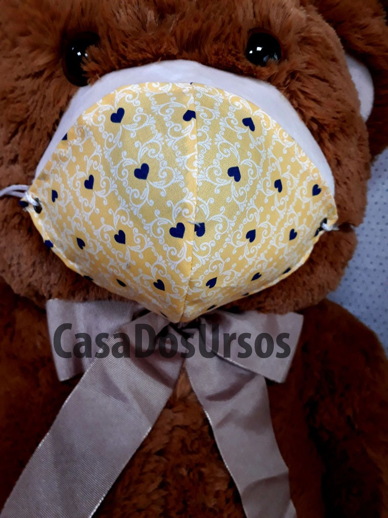 Urso de Pelúcia Grande Com Máscara de 1 metro ou 100cm para Ajudar no Distanciamento Social Proteção Segurança Restaurantes Bares Shopping