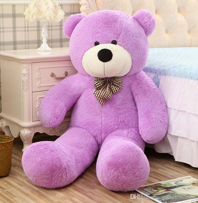 Urso de Pelúcia Lilás Roxo Gigante Grande 1,40 metros ou 140cm de altura + Coração Romântico