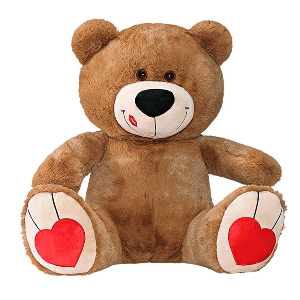 Urso de Pelúcia Marrom Beijinho Grande Macio de 80cm Presente Romântico para Namorada Namorado