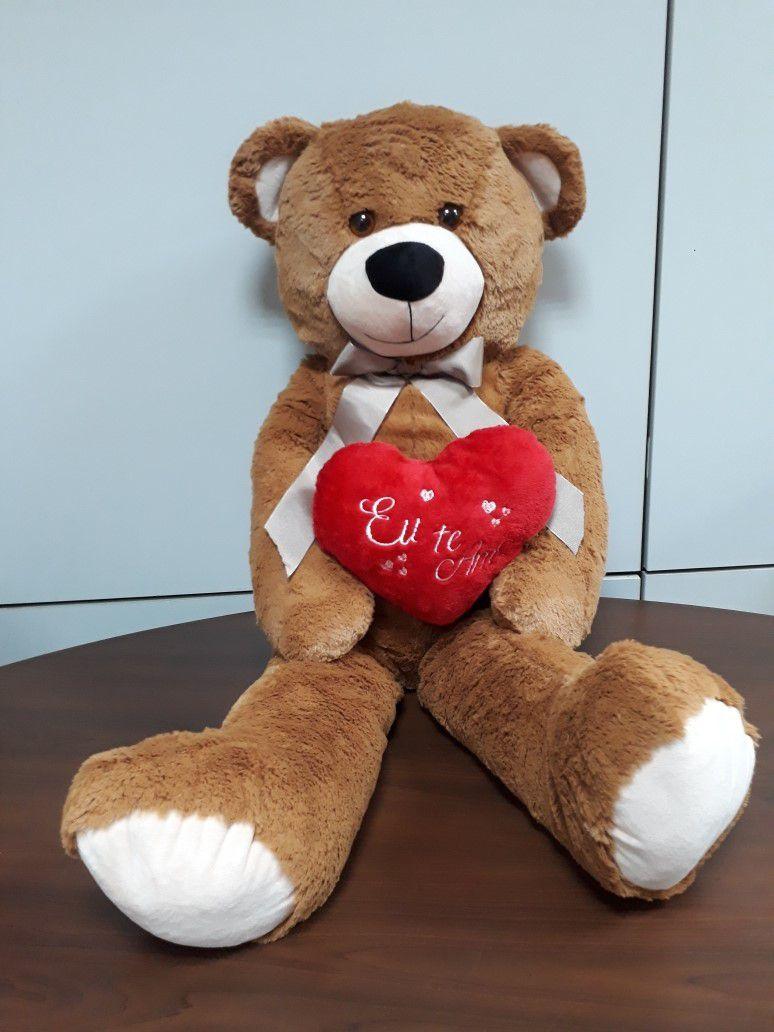 Urso de Pelúcia Marrom Grande Macio de 1 metro ou 100cm Presente para Namorada Dia dos Namorados Aniversário com Coração Romântico