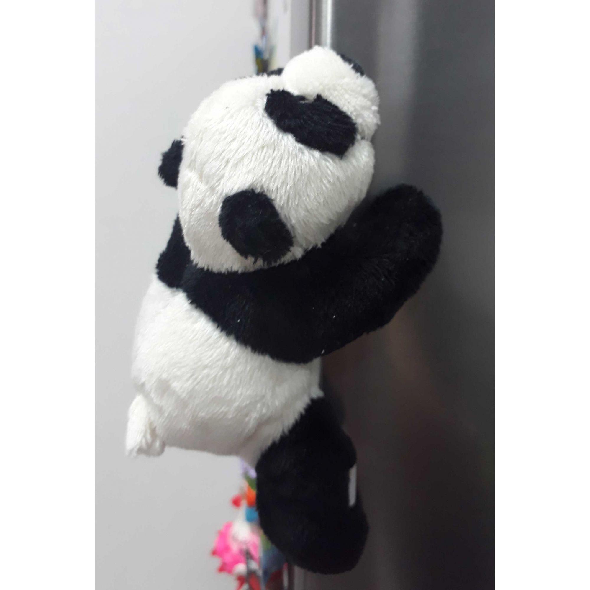Mini Urso de Pelúcia Panda Nici 12cm com Imã nas patinhas - Ursinho para decoração cortina presente namorada aniversário artesanato enfeite geladeira