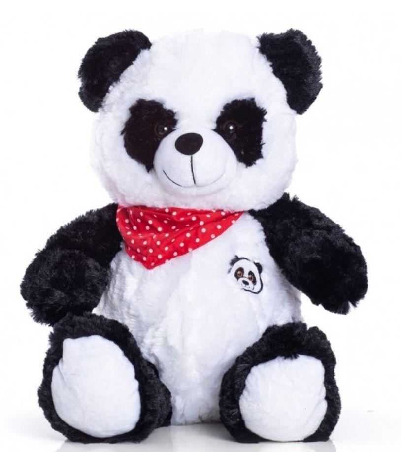 Urso de Pelúcia Panda Chico 40cm com Lacinho Vermelho de Bolinhas Ursinho para decoração presente namorada natal ano novo amigo secreto festa eventos artesanato enfeite