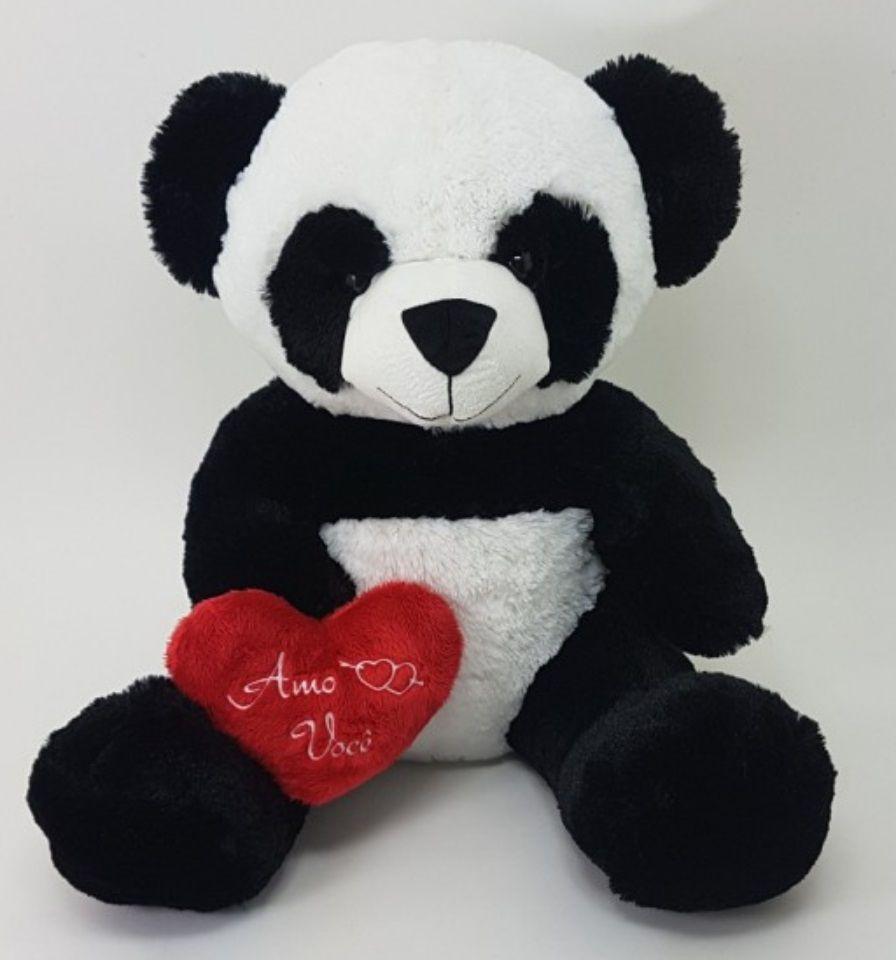 Urso de Pelúcia Panda 50cm com Coração Romântico Vermelho Ursinho Apaixonado para decoração presente dia dos namorados namoarada namorado natal festa eventos artesanato enfeite