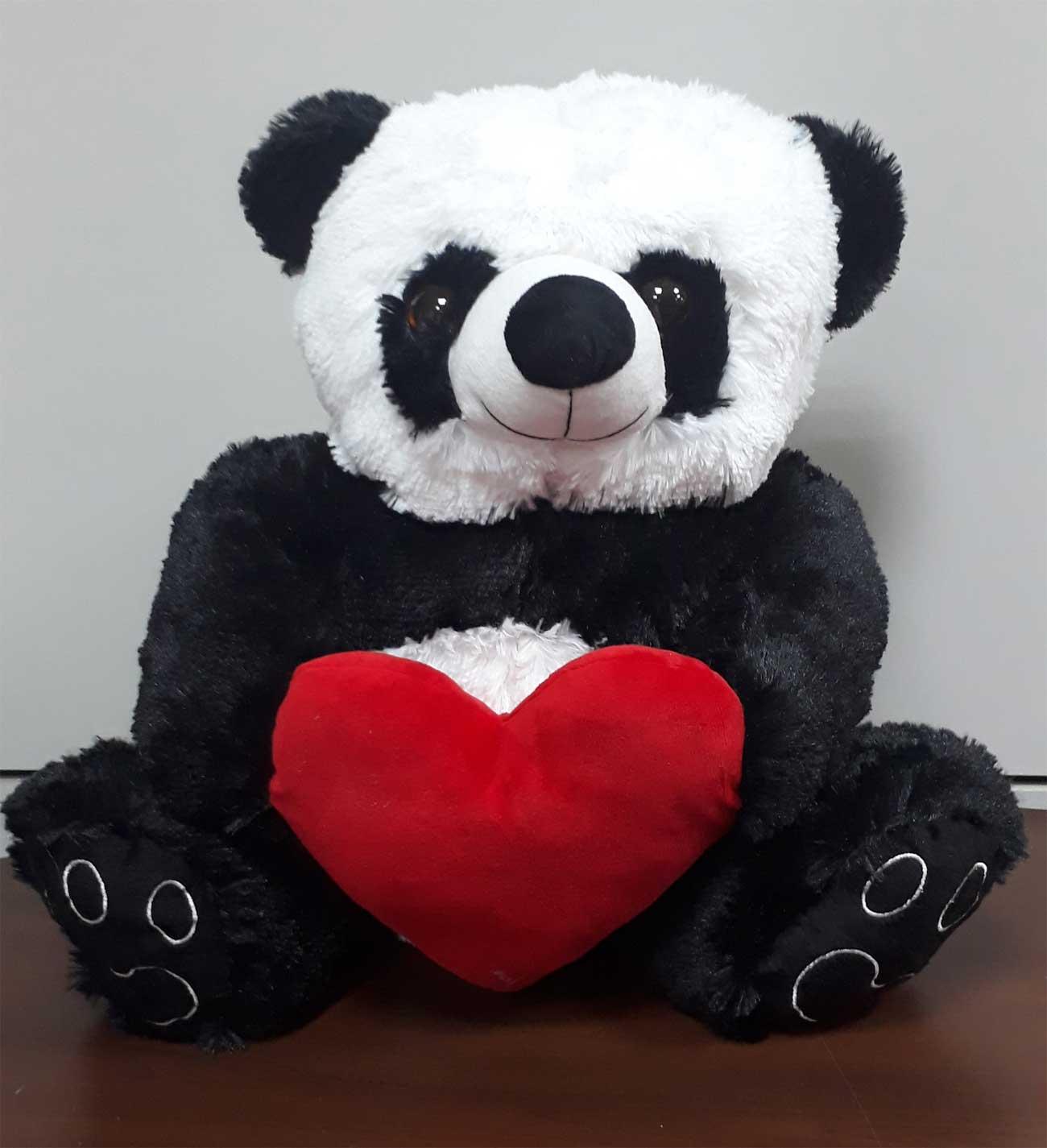 Urso de Pelúcia Panda 50cm x 42cm com Coração Romântico Ursinho presente namorada aniversário natal