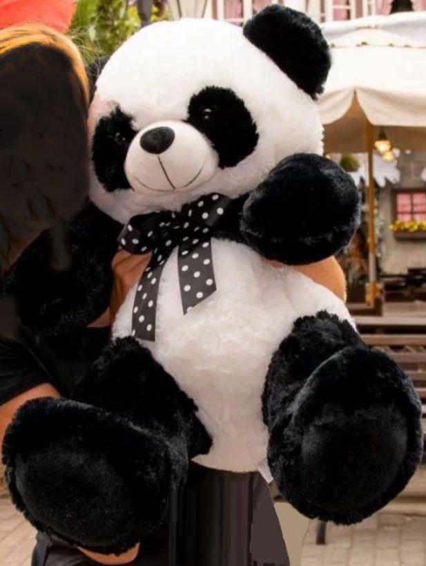 Urso de Pelúcia Panda 60cm com Lacinho Ursinho para decoração presente dia dos namorados namoarada namorado natal festa eventos artesanato enfeite