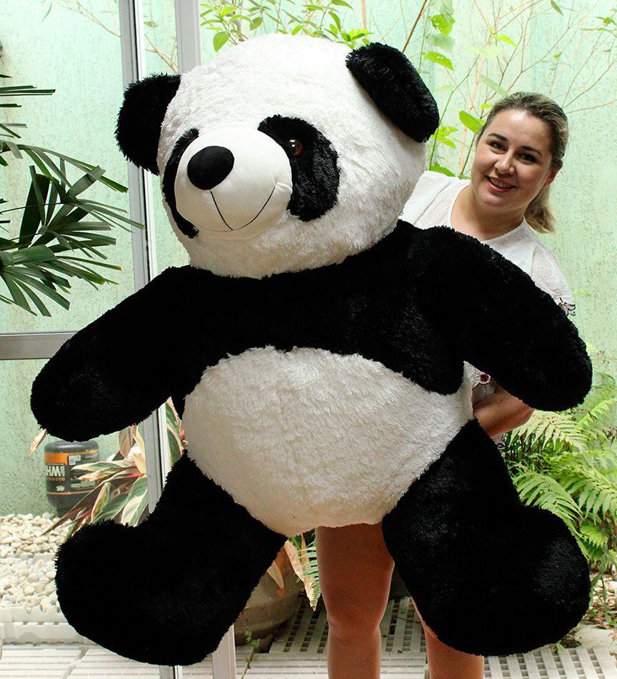 Urso de Pelúcia Panda Gigante Grande 1,20 metros ou 120cm de altura x 100cm de Largura presente ideal para namorada namorados aniversário festa decoração eventos