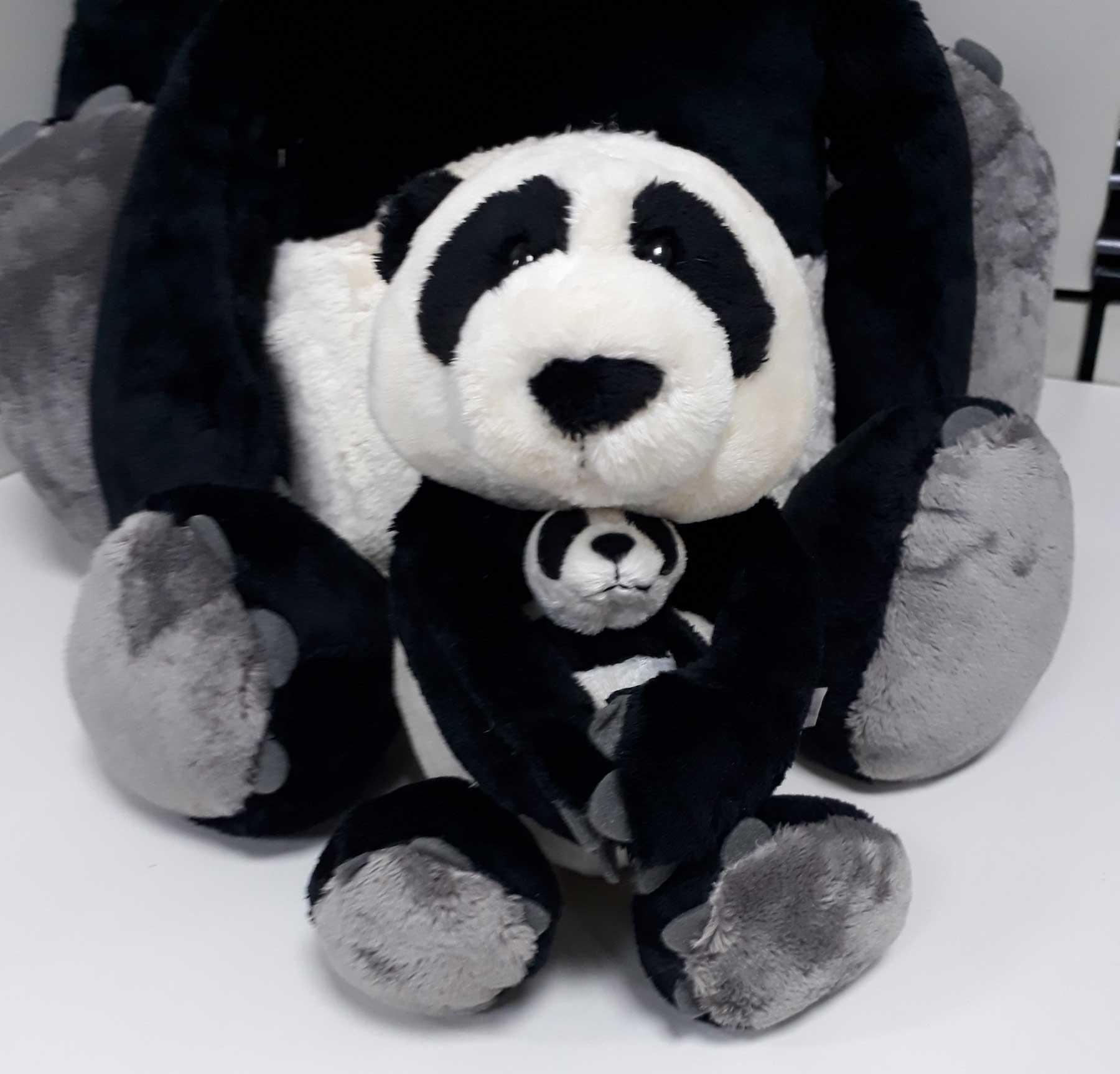 Urso de Pelúcia Panda Nici 25cm Mamãe com filhote 8cm Ursinho para decoração presente mãe namorada aniversário artesanato enfeite festas eventos natal ano novo amigo secreto