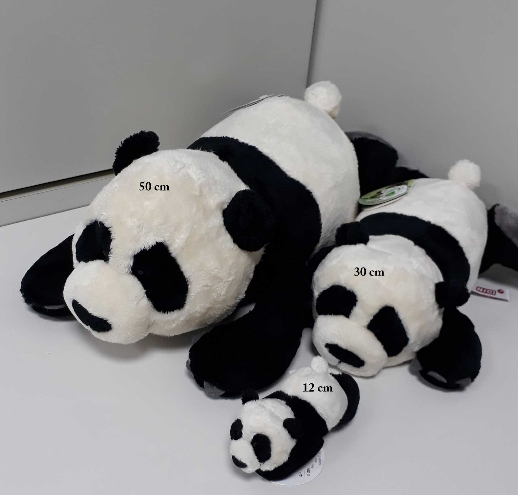 Urso de Pelúcia Panda Nici 50cm deitado Ursinho para decoração presente namorada natal ano novo amigo secreto festa eventos artesanato enfeite