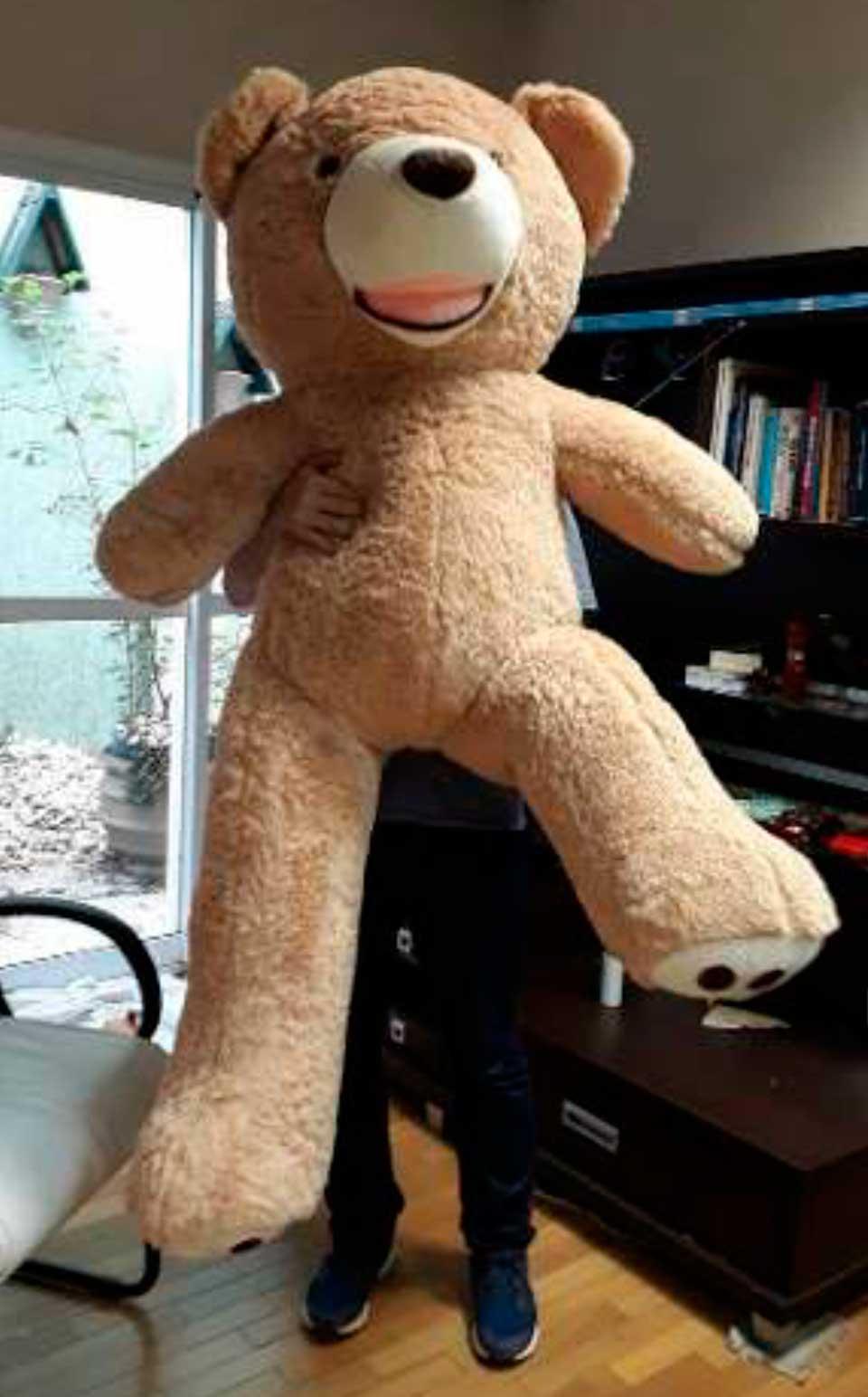 Urso de Pelúcia Pardo Gigante Grande 1,60 metros ou 160cm de altura + Coração Romântico