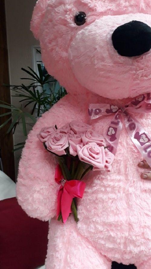 Urso de Pelúcia Rosa Gigante Grande 1,40 metros de altura + Buquê Romântico com Flores Rosas Super Presente Dia dos Namorados