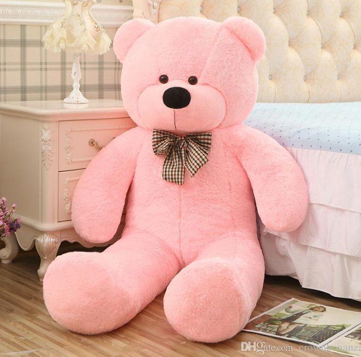 Urso de Pelúcia Rosa Gigante Grande 1,40 metros ou 140cm de altura