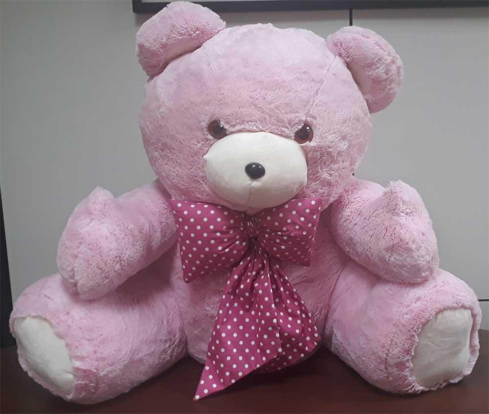 Urso de Pelúcia Rosa Gigante Grande Dengo 1,10 metros ou 110cm de altura + Super Laço rosa com bolinhas brancas ideal para presentear quem você ama!