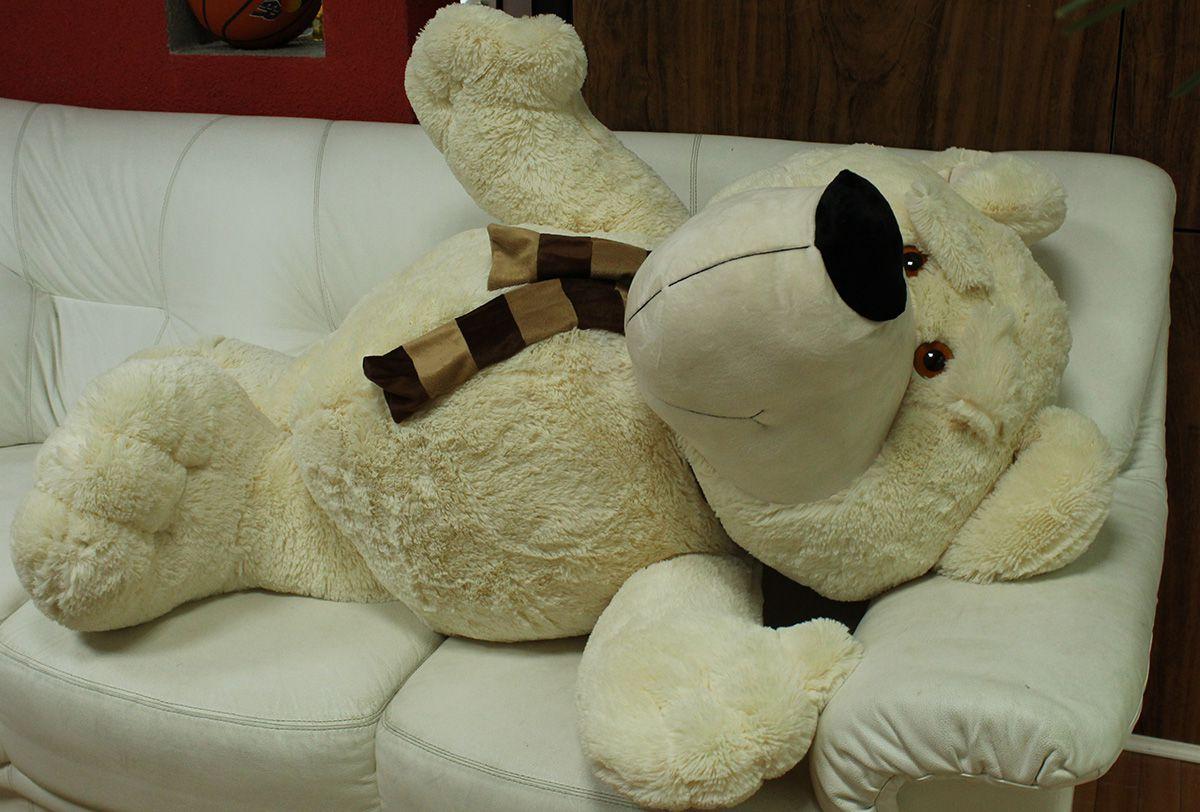 Urso de Pelúcia Super Teddy Filme Creme Gigante Grande 1,50 metros ou 150cm de largura com Cachecol - Presente para Namorada Namorados Aniversários Casamentos Formatura Festa Evento Decoração Especial