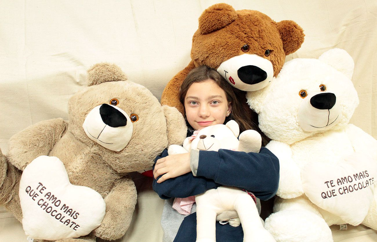 """Urso de Pelúcia Teddy Creme Grande Macio de 55cm Presente com coração Romântico """"Te Amo mais que Chocolate"""" para presenterar quem ama Namorada Namorado"""