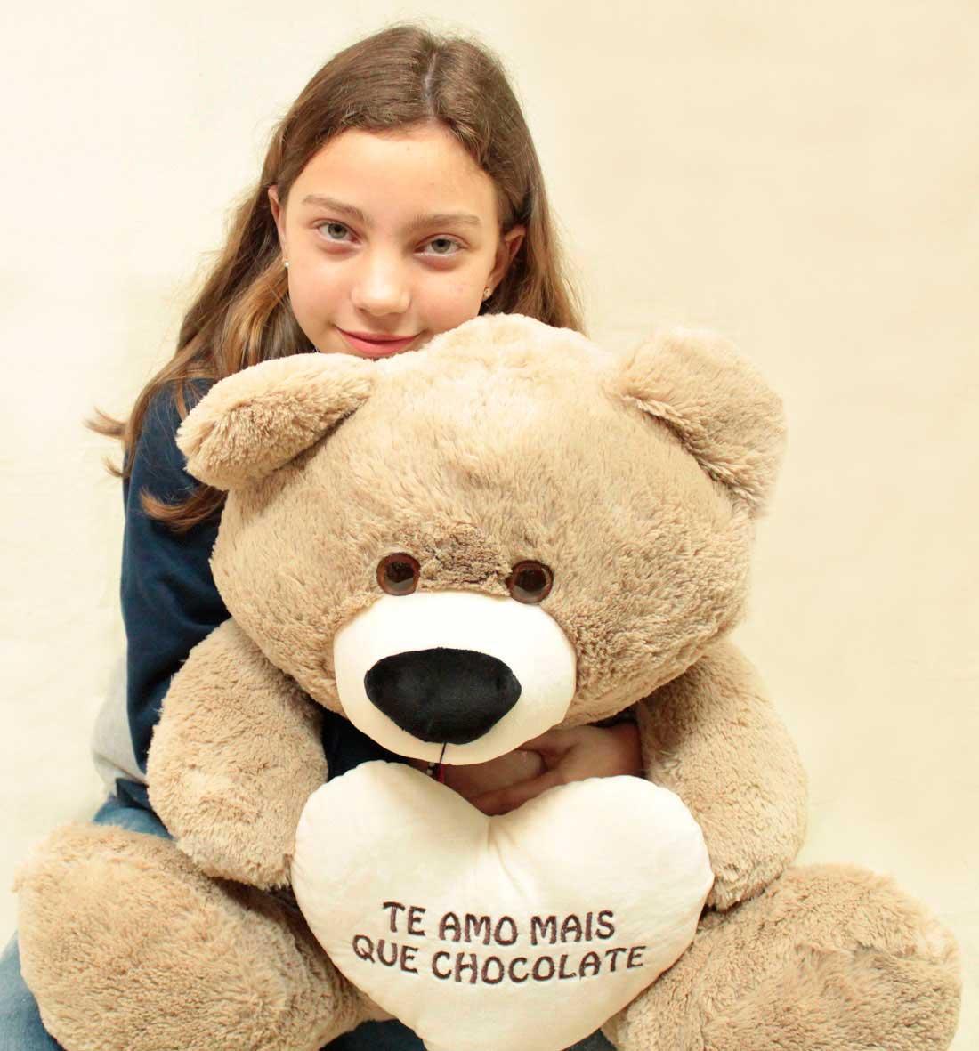 """Urso de Pelúcia Teddy Areia Grande Macio de 55cm Presente com coração Romântico """"Te Amo mais que Chocolate"""" para presenterar quem ama Namorada Namorado"""